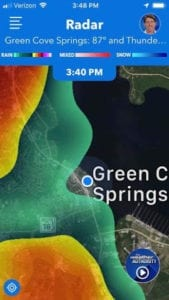 Radar image of Green Cove Springs' cove effect