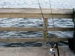 Fishing poles on City Pier